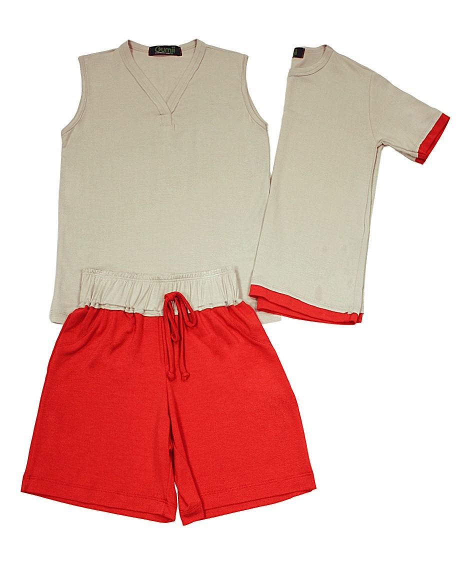 Pijama Martim Cinza com Vermelho Gumii
