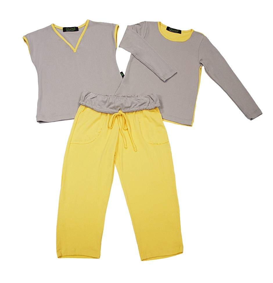 Pijama Infantil Gumii Sanne Cinza com Amarelo