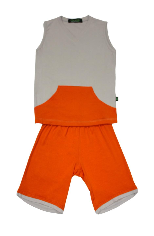 Pijama Infantil Masculino Thor Cinza com Laranja Gumii