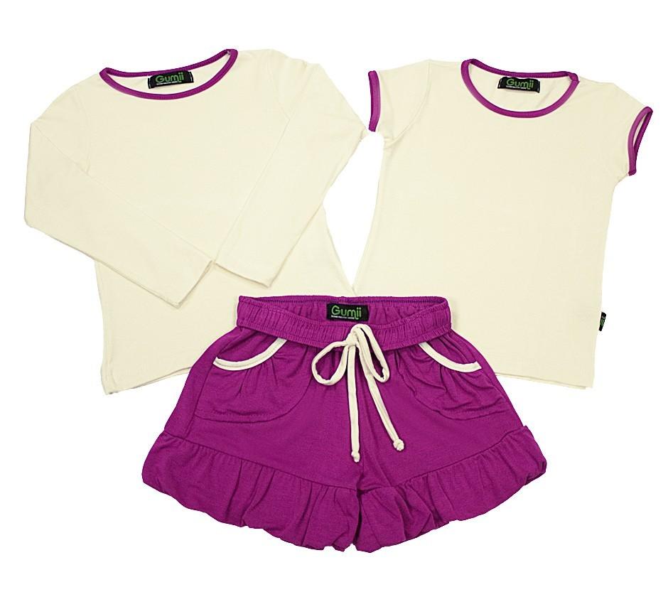 Pijama Infantil Feminino Tinna Off-White com Fúcsia Gumii