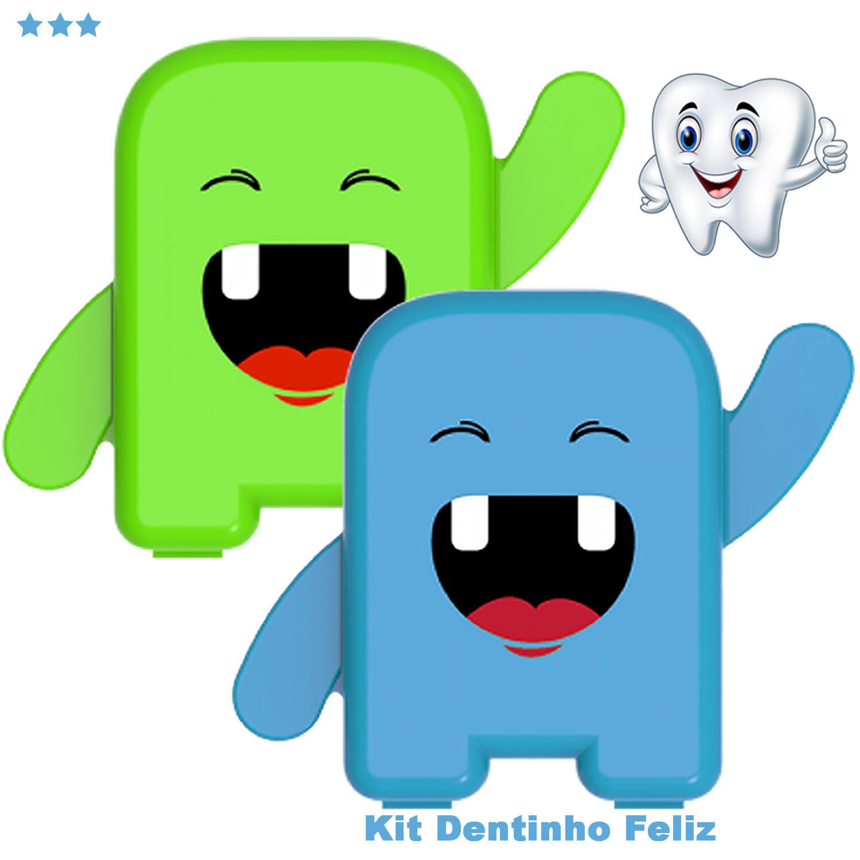 kit 2 Porta Dente De Leite Dentinhos Criança Feliz Azul e Verde