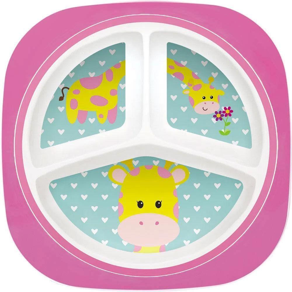 Prato Infantil Bebê Com 3 Divisórias BPA Free Girafinha Buba