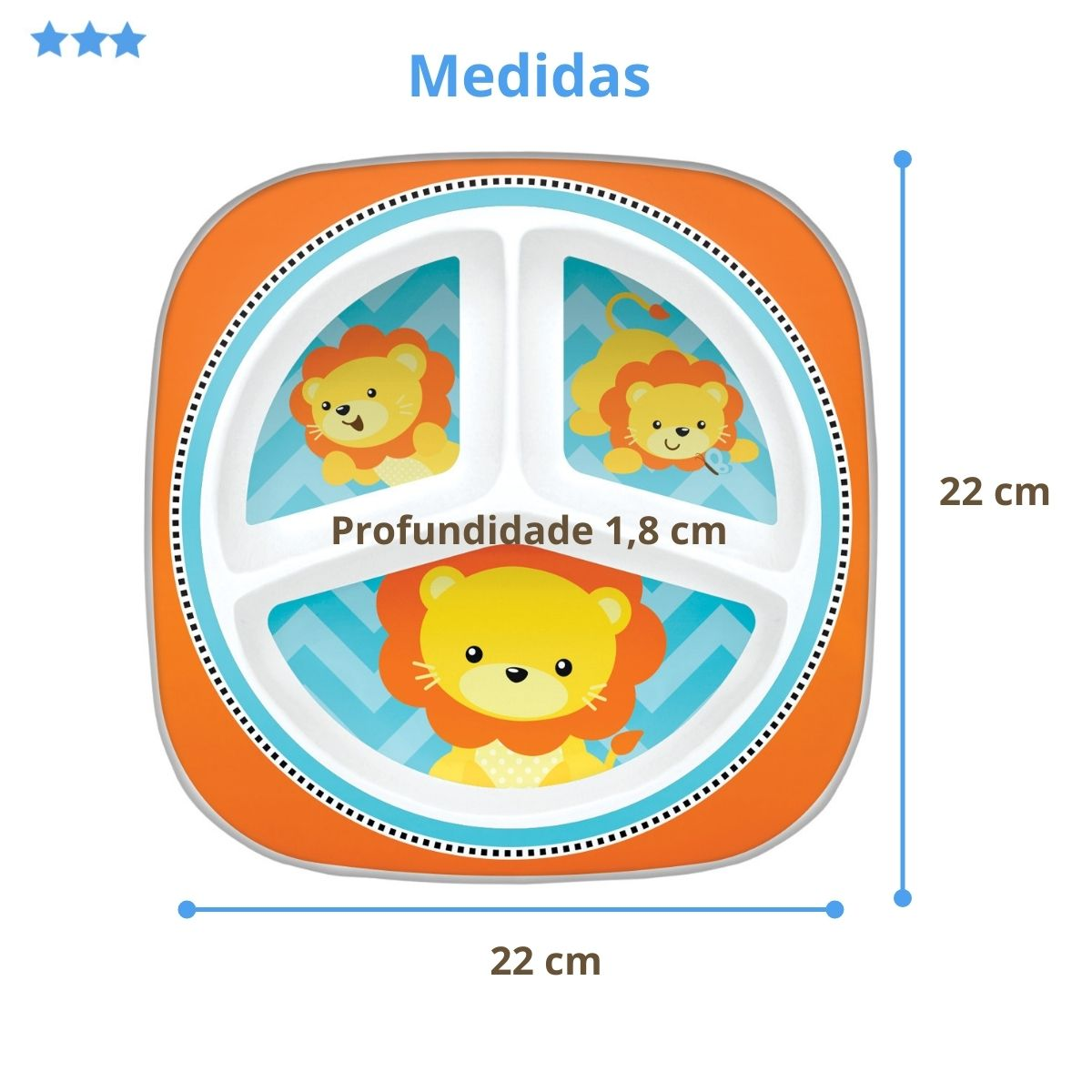 Prato Infantil Bebê Com 3 Divisórias BPA Free Leãozinho Buba