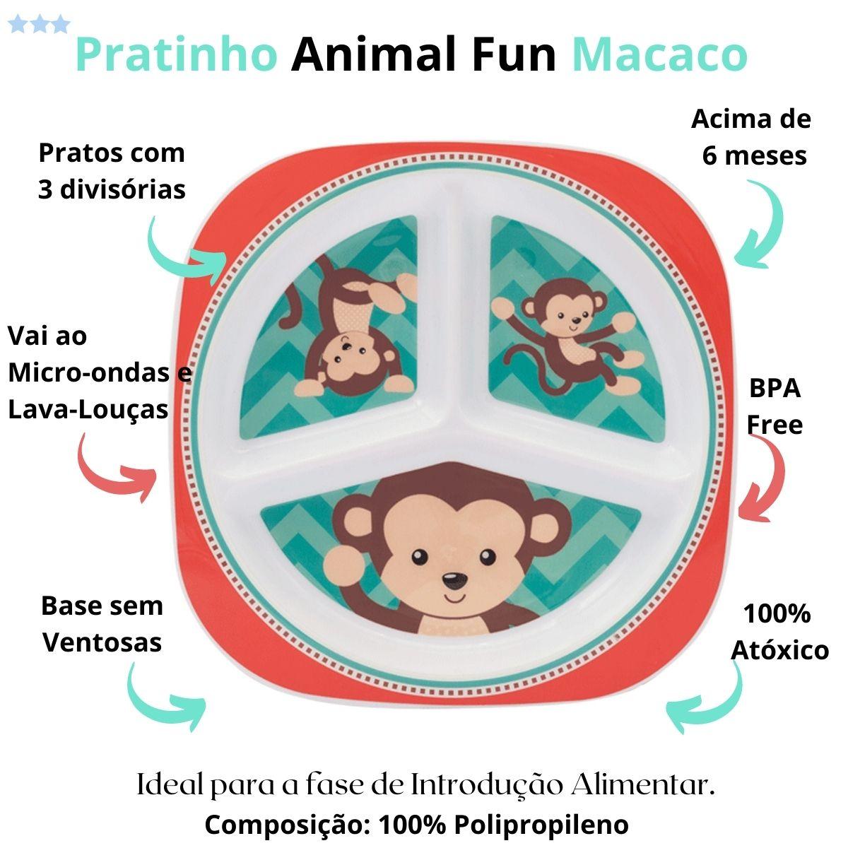 Prato Infantil Bebê Com 3 Divisórias BPA Free Macaquinho Buba