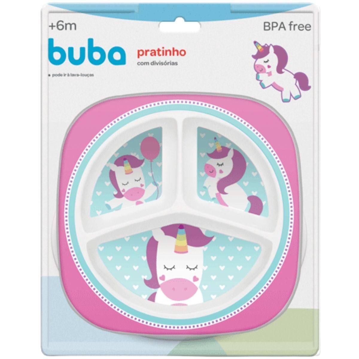 Prato Infantil Bebê Com 3 Divisórias BPA Free Unicórnio Buba
