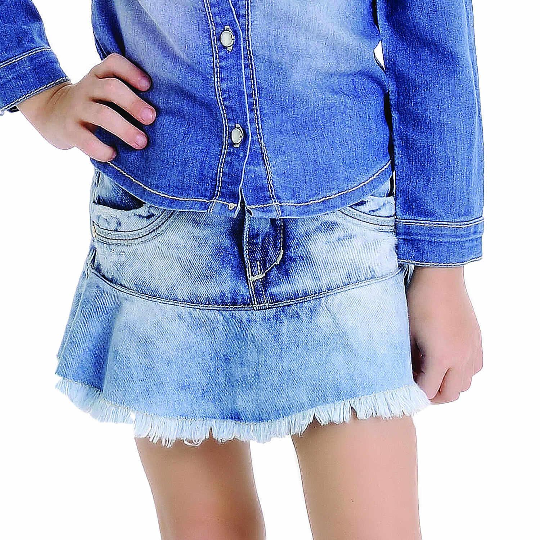 Saia Jeans Com Babados Petit Cherie