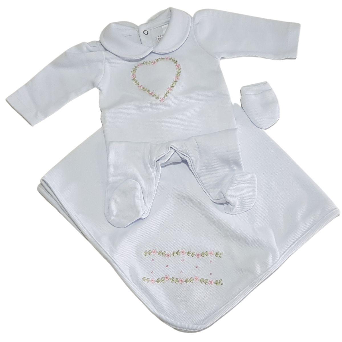Saida Maternidade Bebê Menina Branca Florzinha Luxo 3 Peças Pirlipat