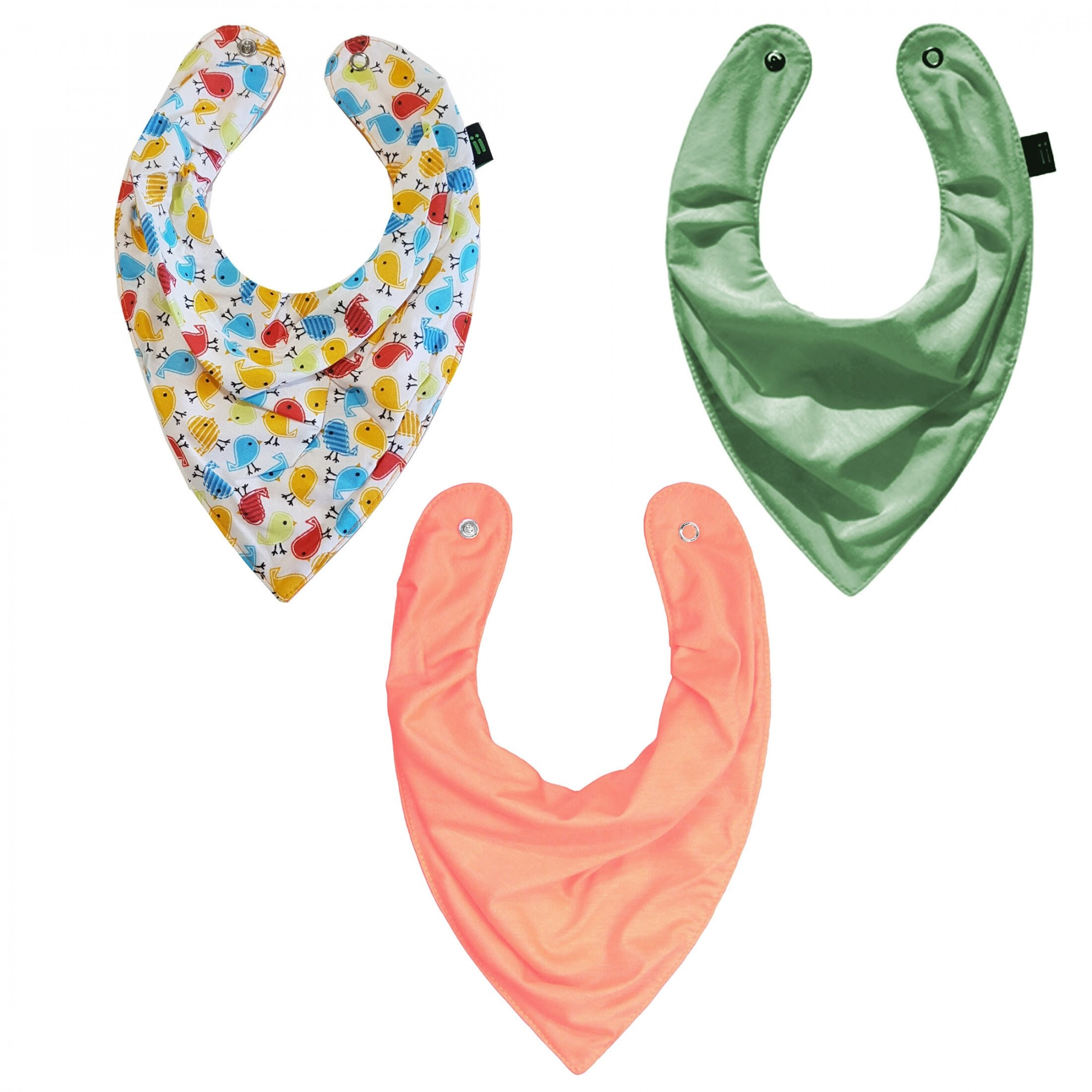 Trio Babador Bandana Little Bird Colorido Tangerina