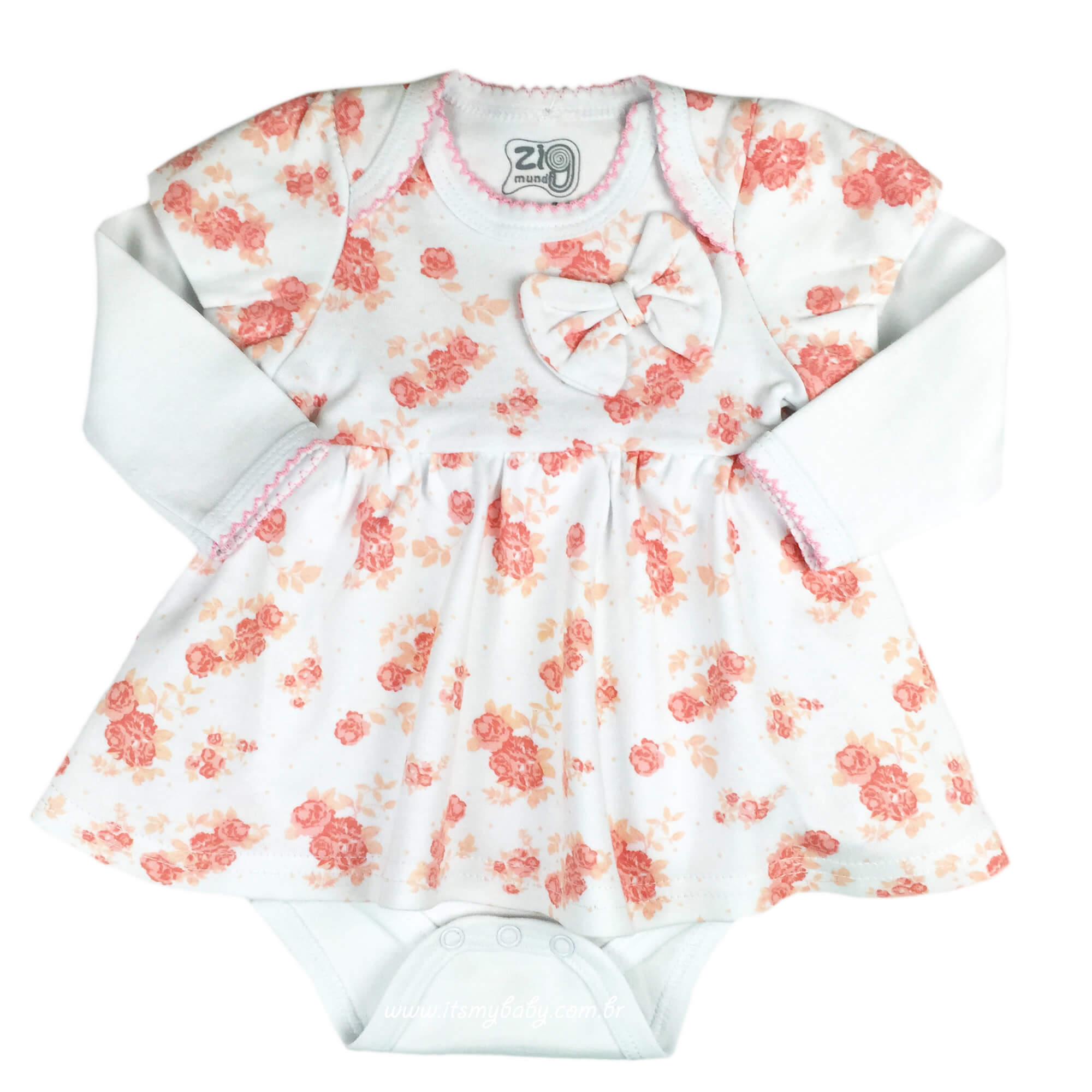 Vestido Body de Malha de Algodão Bebê Menina Floral Zig Mundi