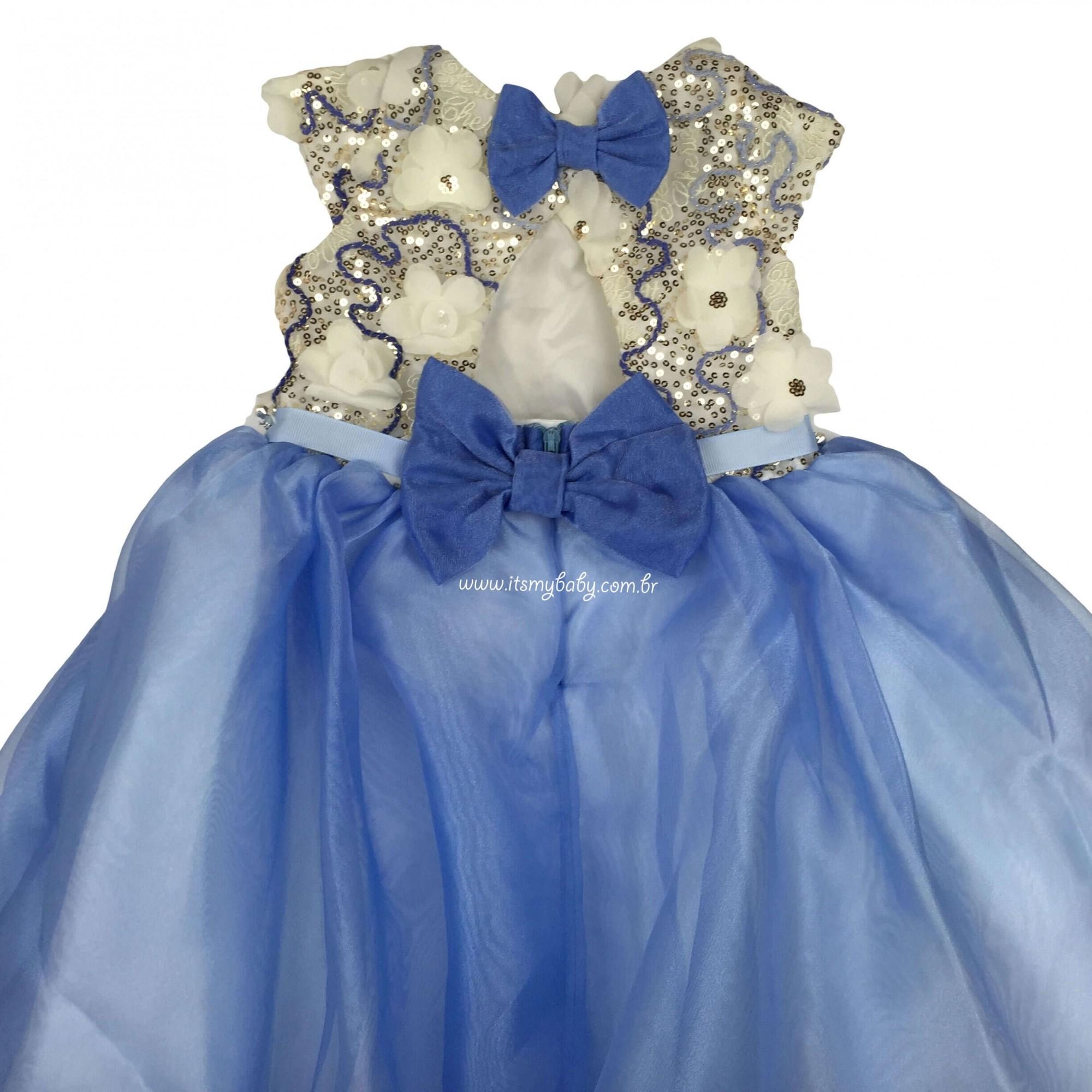 Vestido Festa Azul Bordado