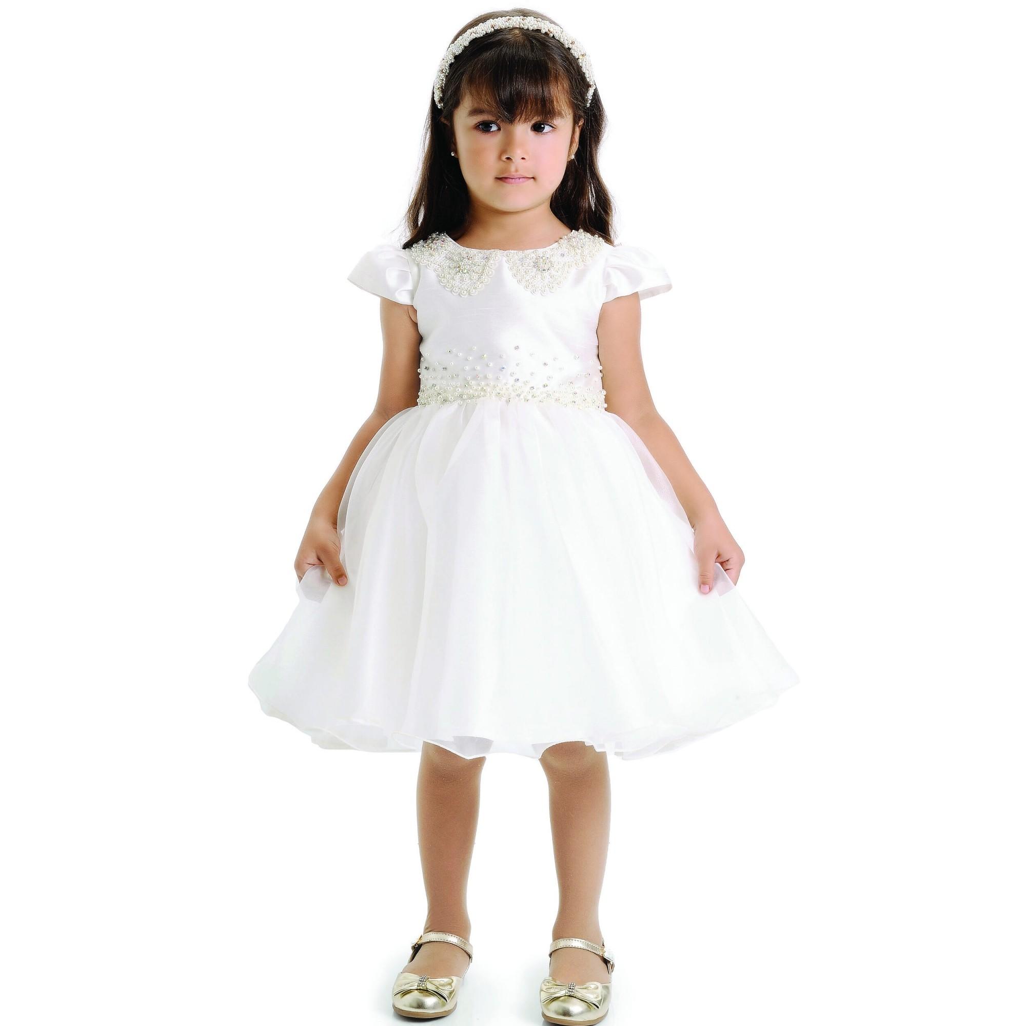Vestido Festa Infantil com Bordado