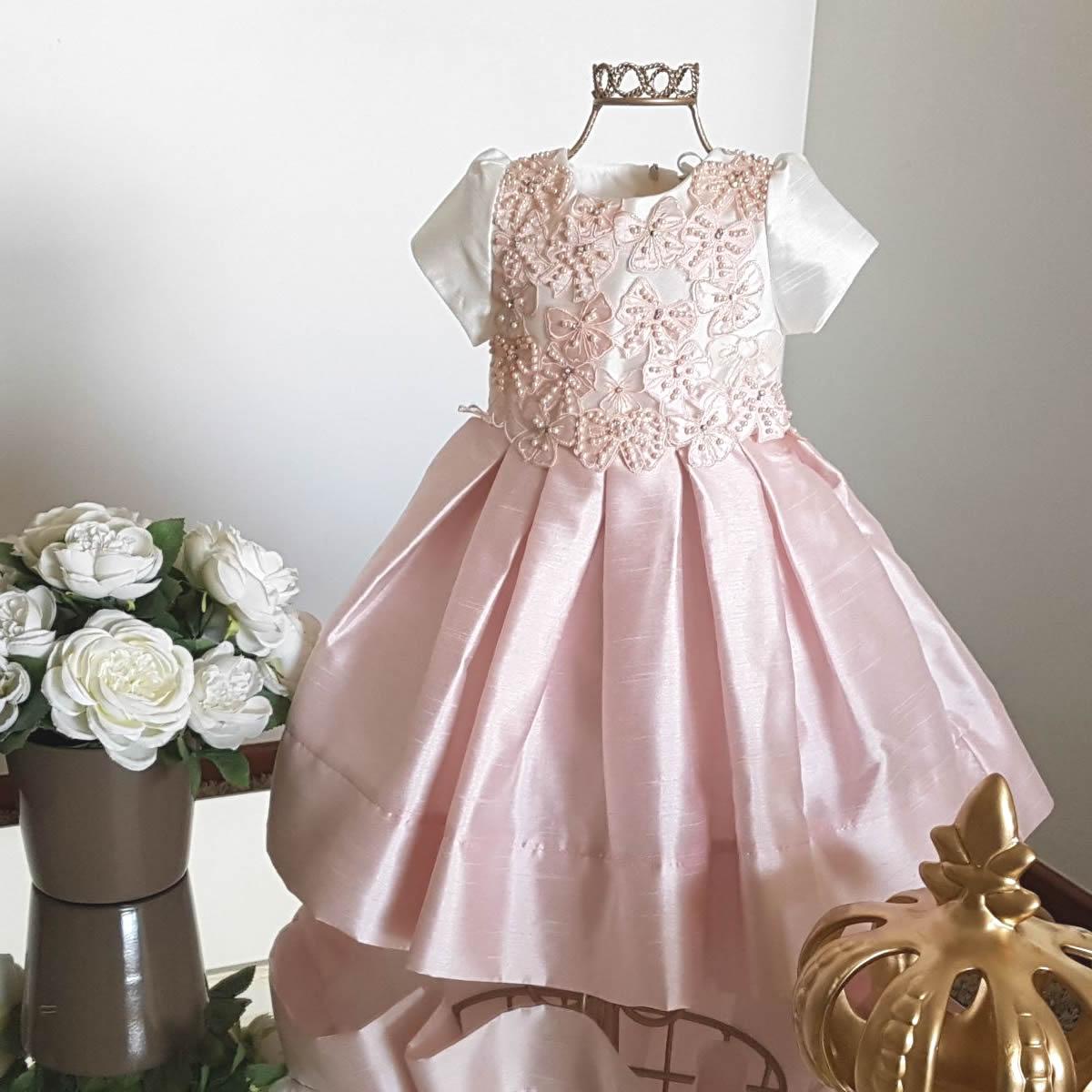 Vestido Festa Infantil com Bordado Rosa