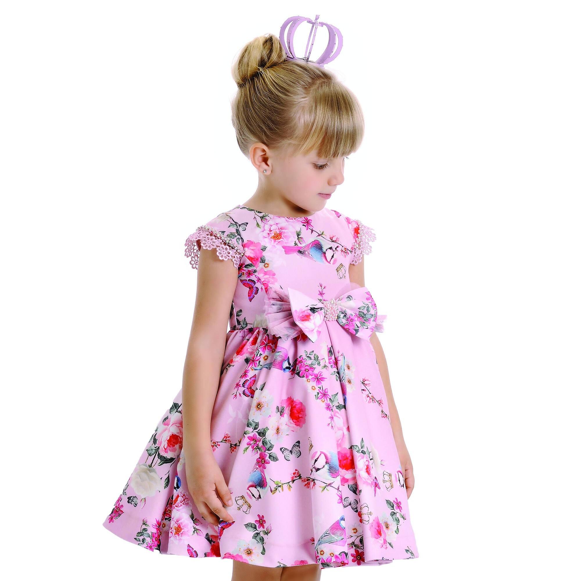Vestido Floral com Laço Petit Cherie