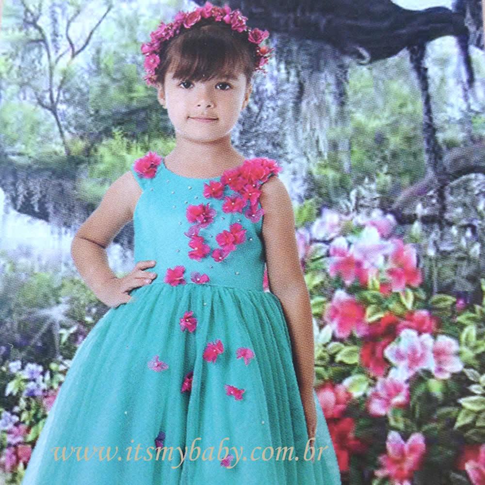 Vestido Frozen com Flores Petit Cherie