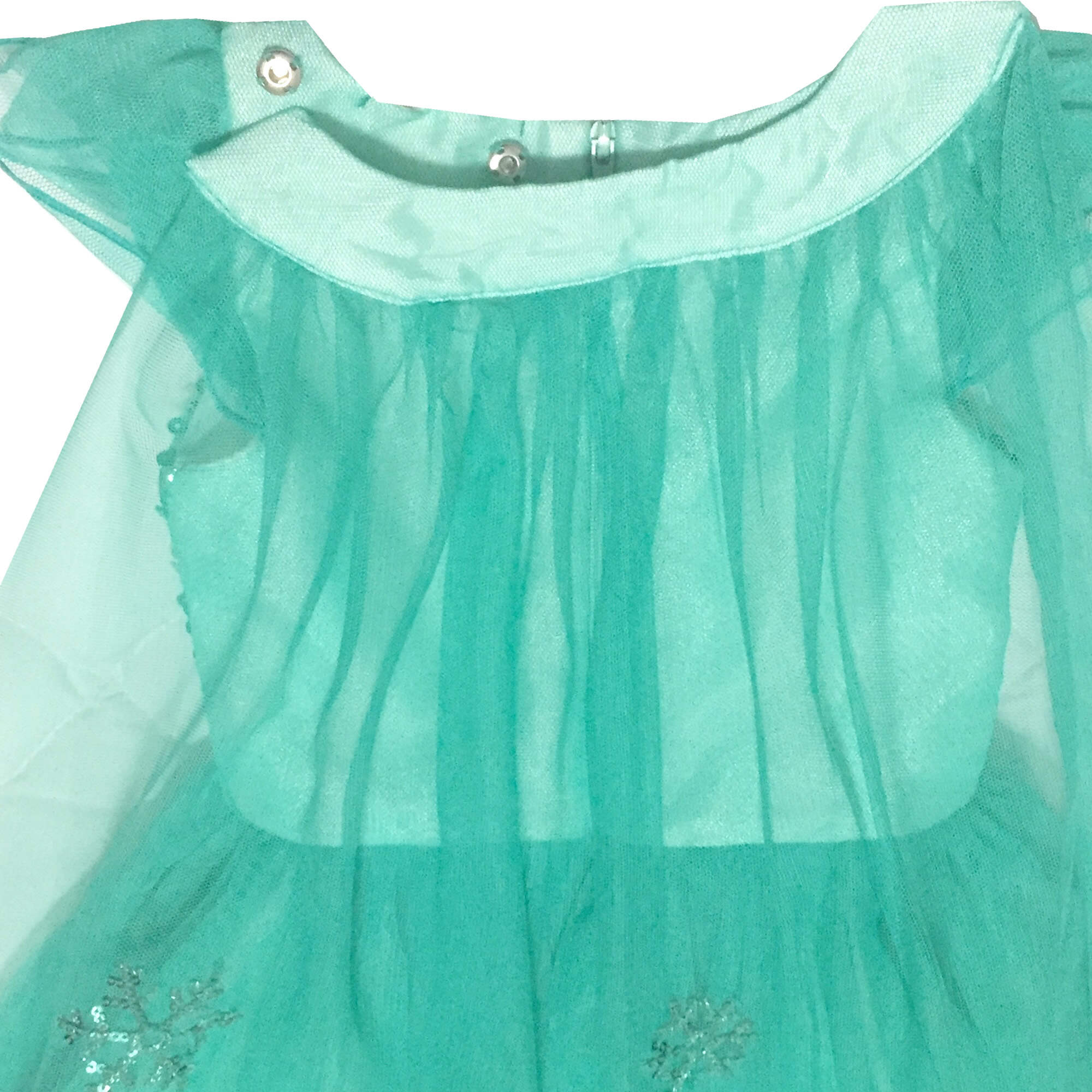 Vestido Frozen Verde com Capa Petit Cherie