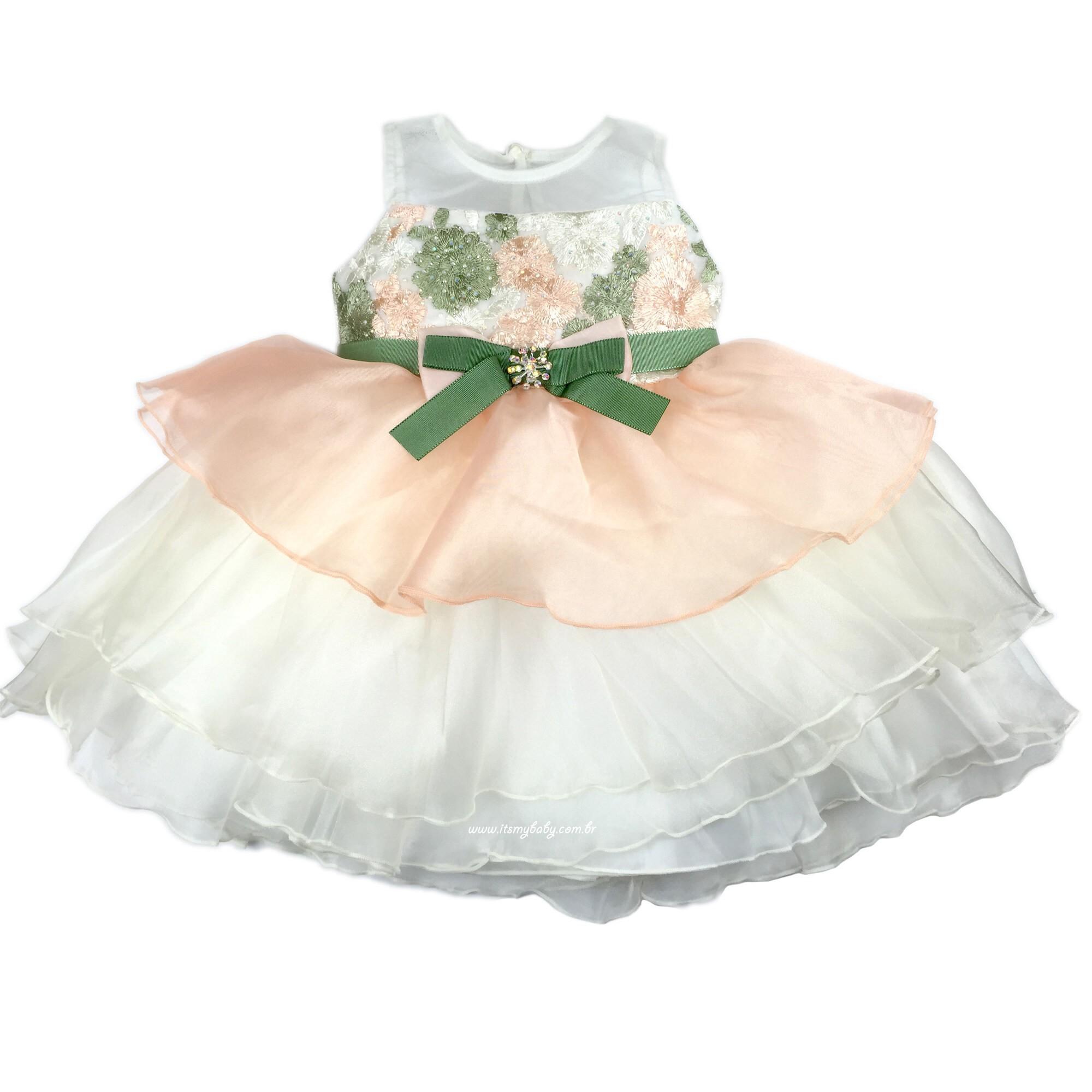 Vestido Organza Babado Petit Cherie