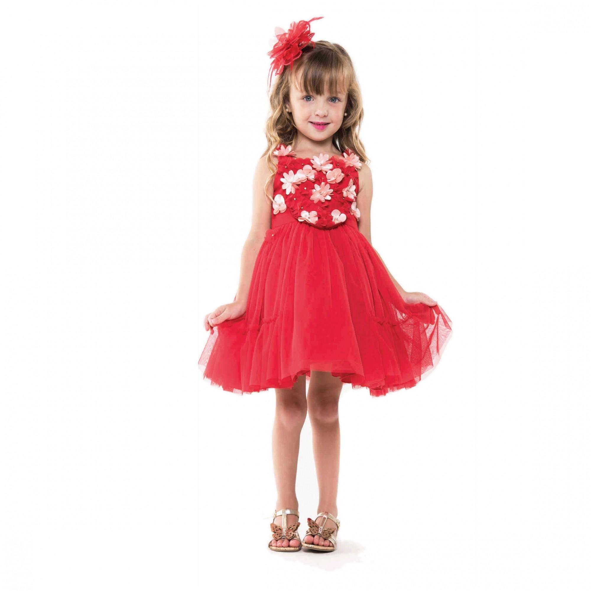 Vestido Tule com Flores Vermelho
