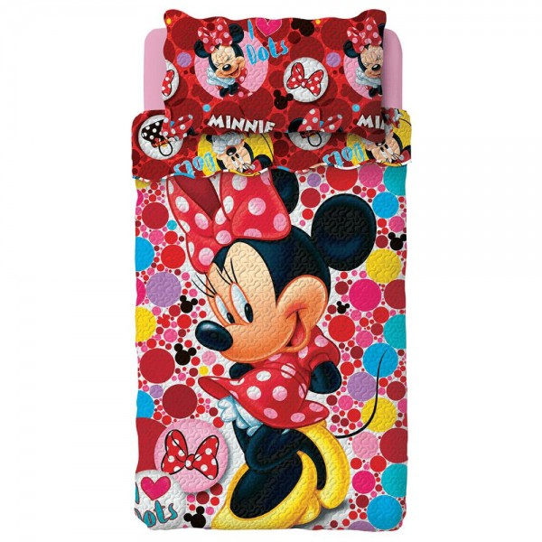 Colcha Dupla Face Solteiro Estampada Disney Minnie