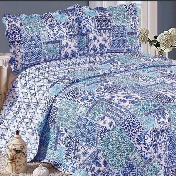 Colcha Patchwork King Balan Azul