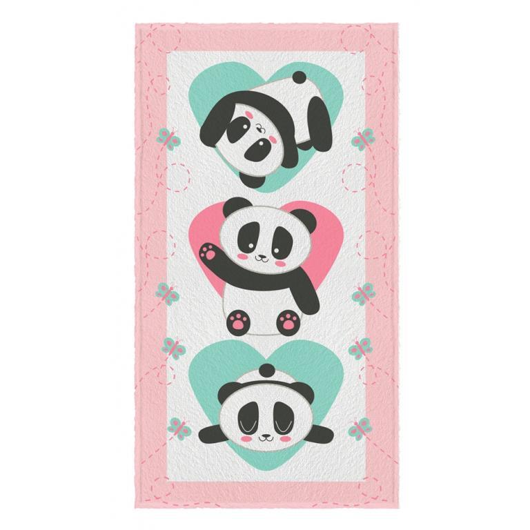 Toalha Felpuda de Banho Estampada Panda 60 cm x 1,10 m