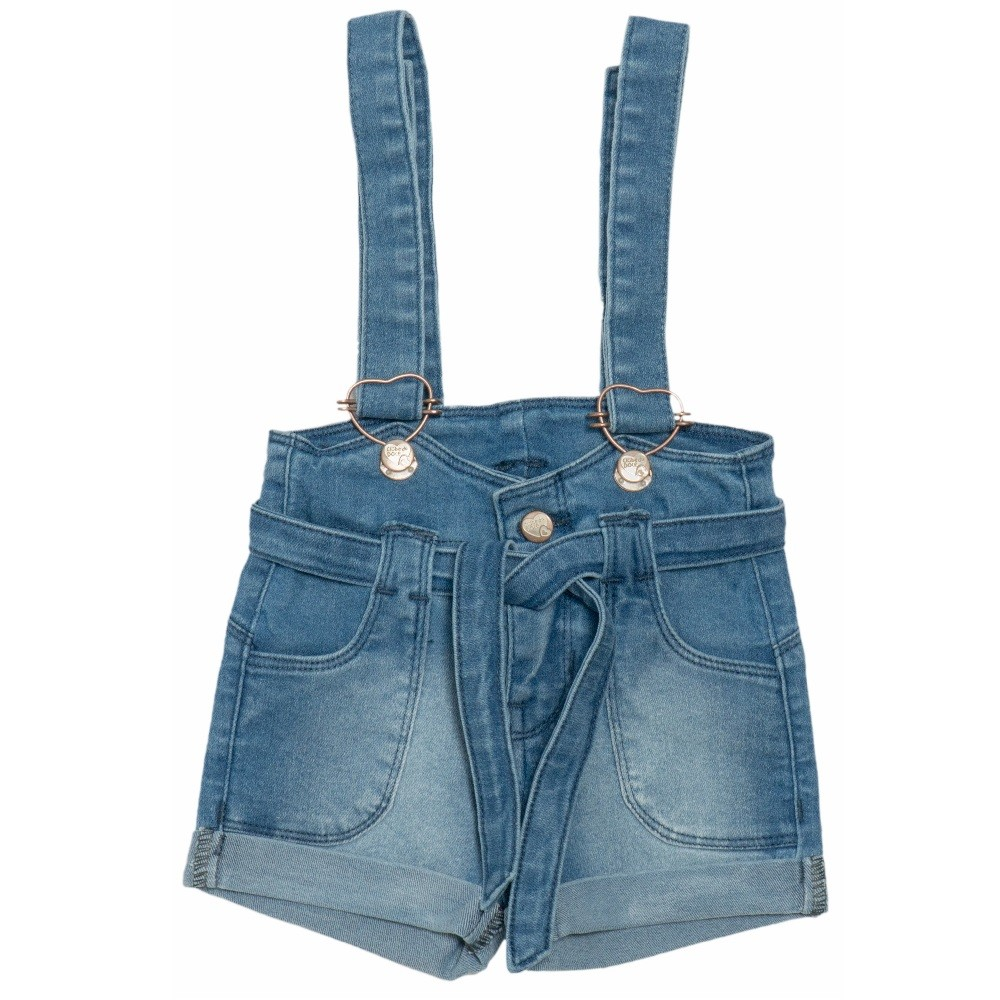 Shorts Jardineira Jeans Clube do Doce