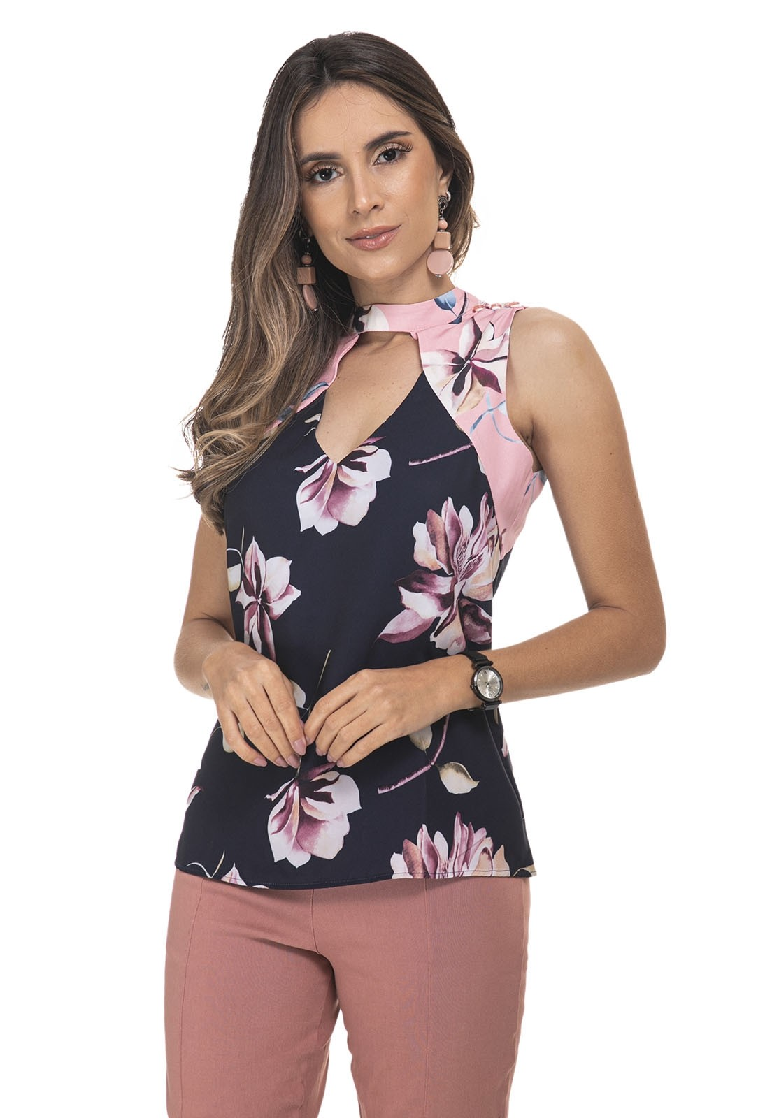 Blusa Zaiko Estampada Floral Cavada 2280