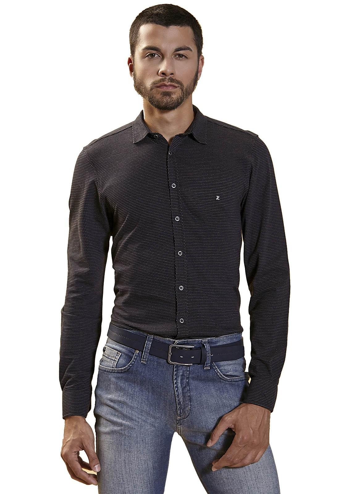 Camisa Fit Zaiko Malhla Estampada Poa Manga Longa 2252 Preto