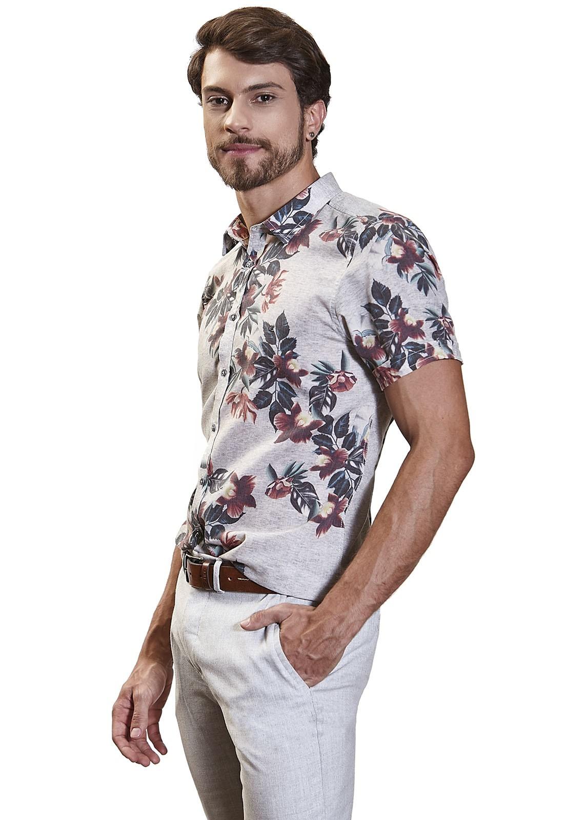 Camisa Slim Zaiko Estampada Floral Manga Curta 2257 Branca