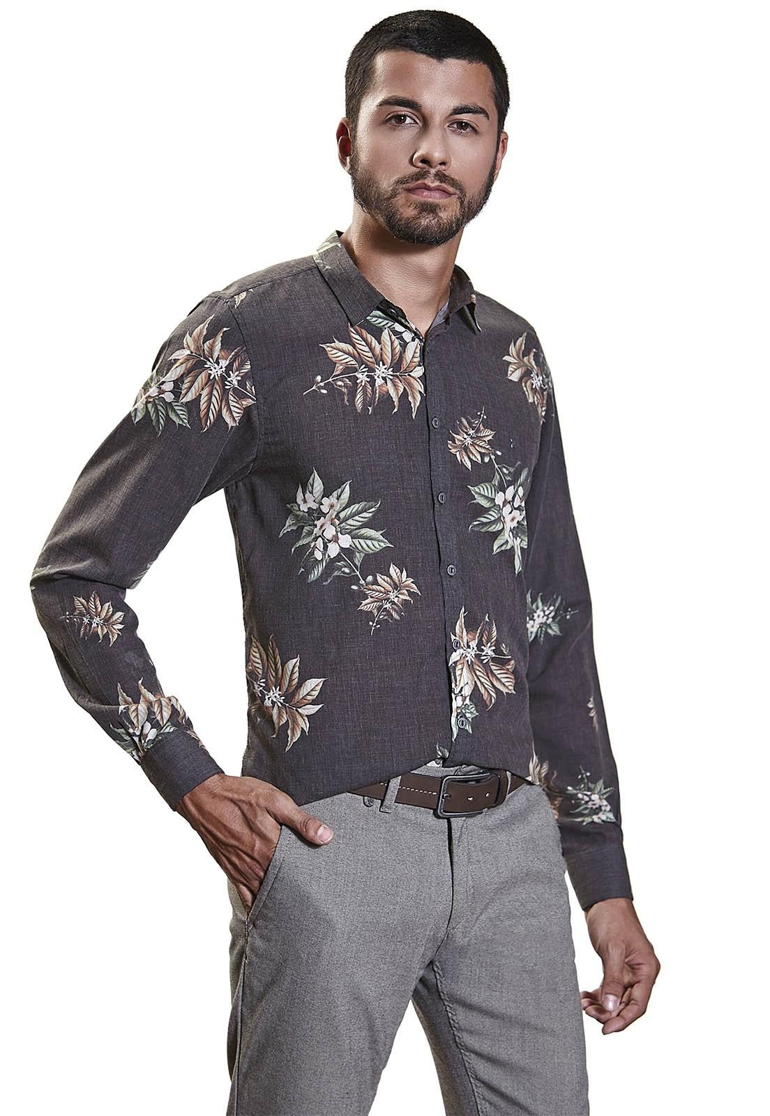Camisa Slim Zaiko Estampada Floral Manga Longa 2258 Preto