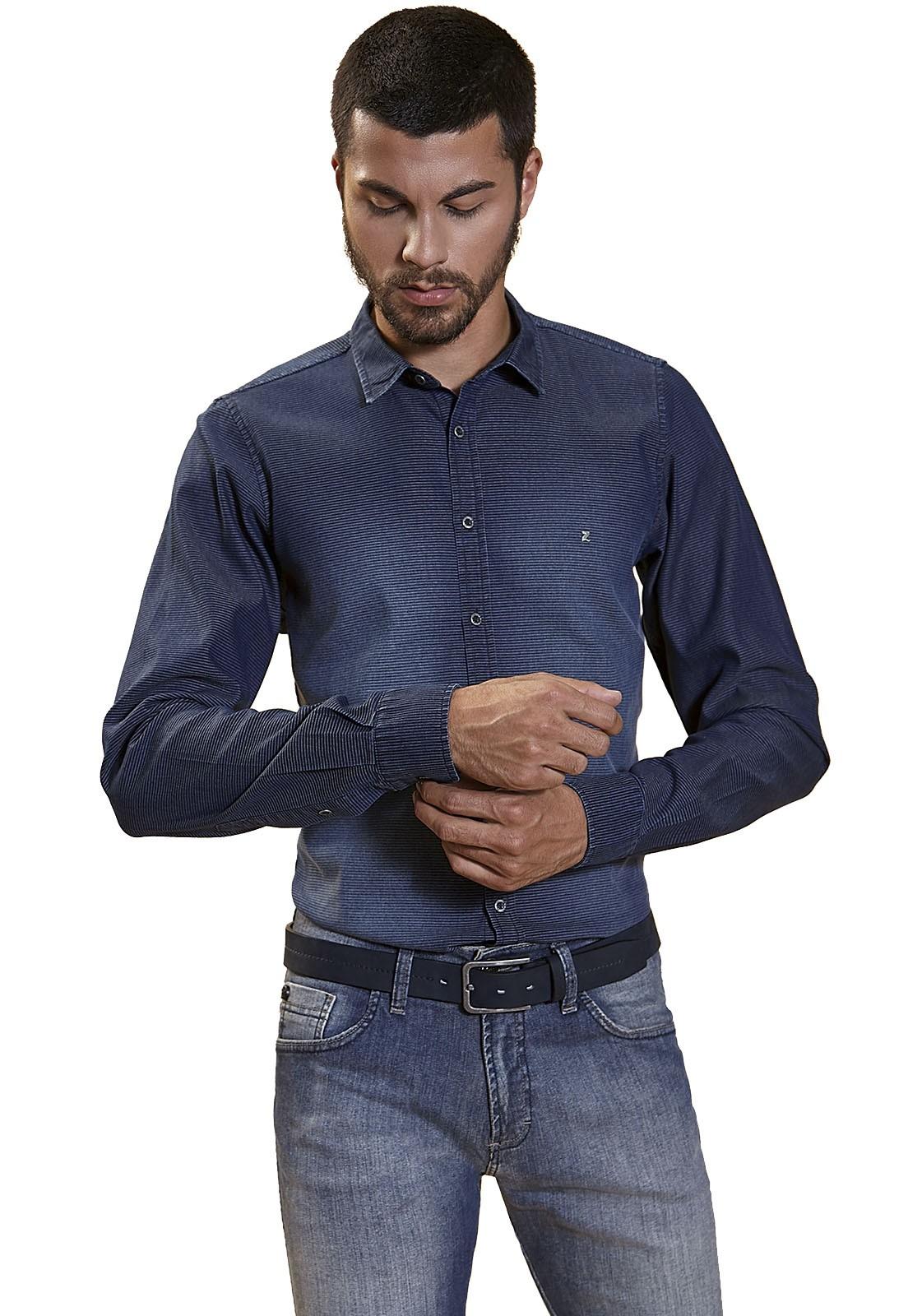 Camisa Slim Zaiko Jeans Listrado Manga Longa 2228 Marinho
