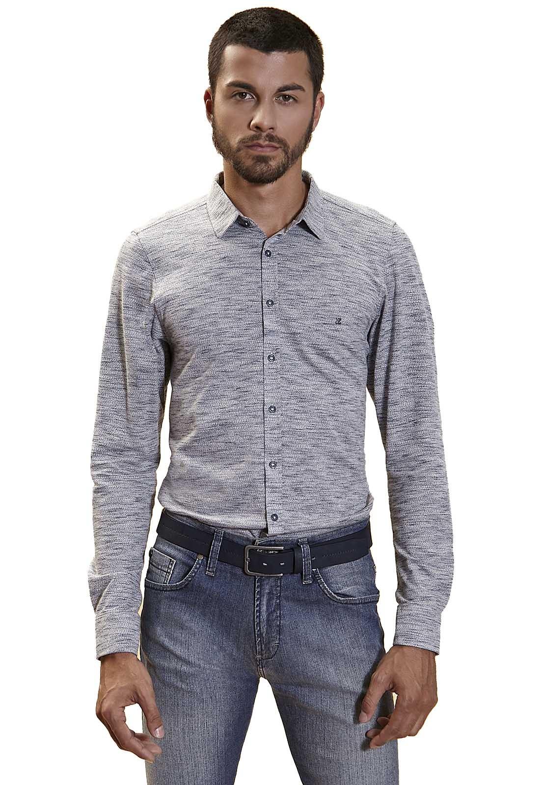 Camisa Slim Zaiko Malha Manga Longa 2250 Cinza