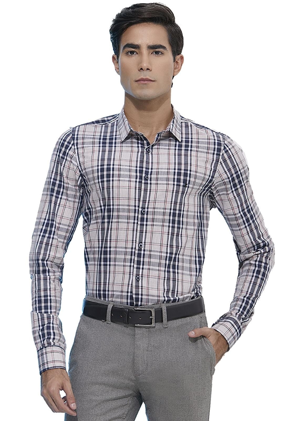 Camisa Slim Zaiko Xadrez Manga Longa 2109