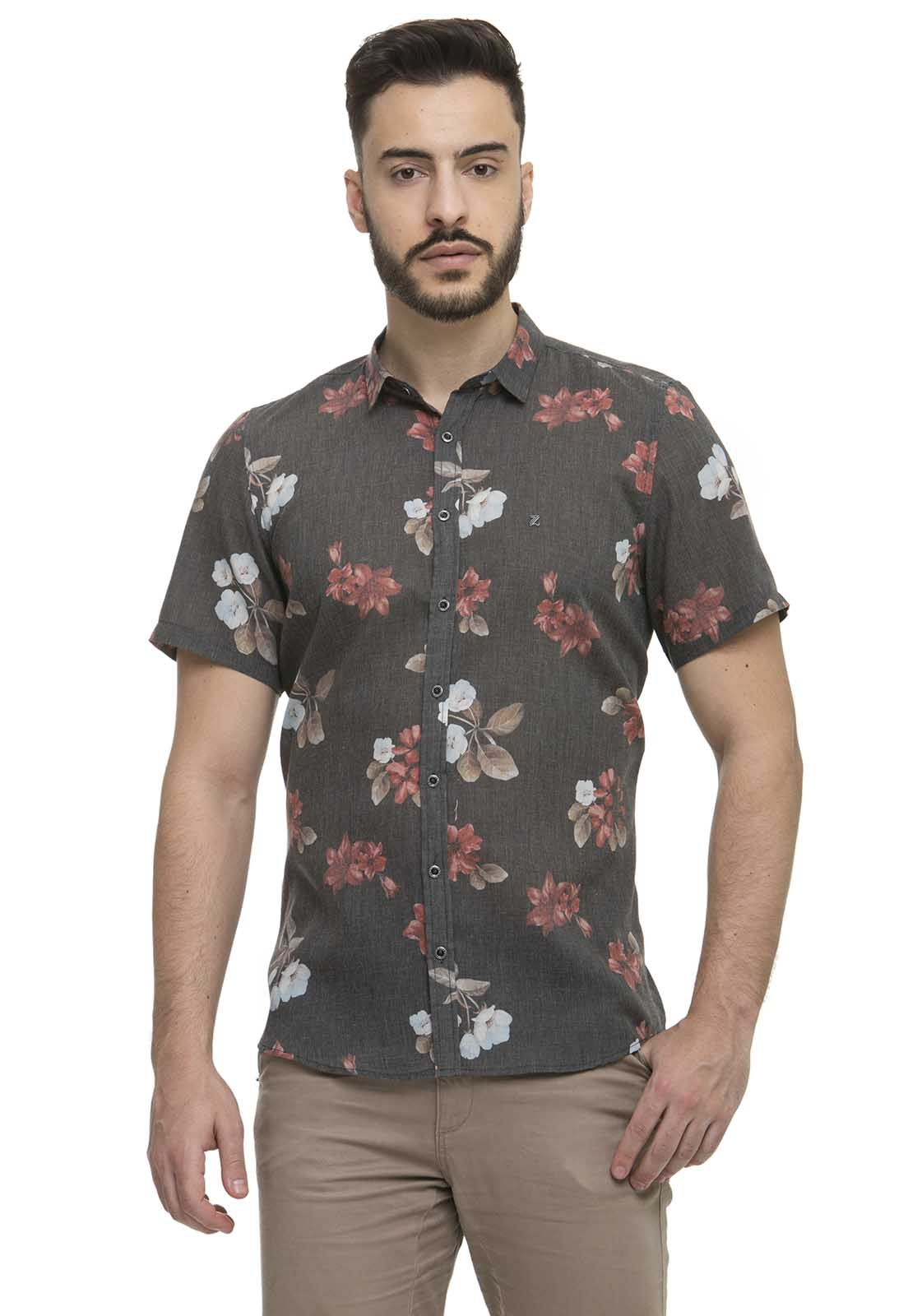 Camisa Social Slim Zaiko Estampada Floral Manga Curta 2257