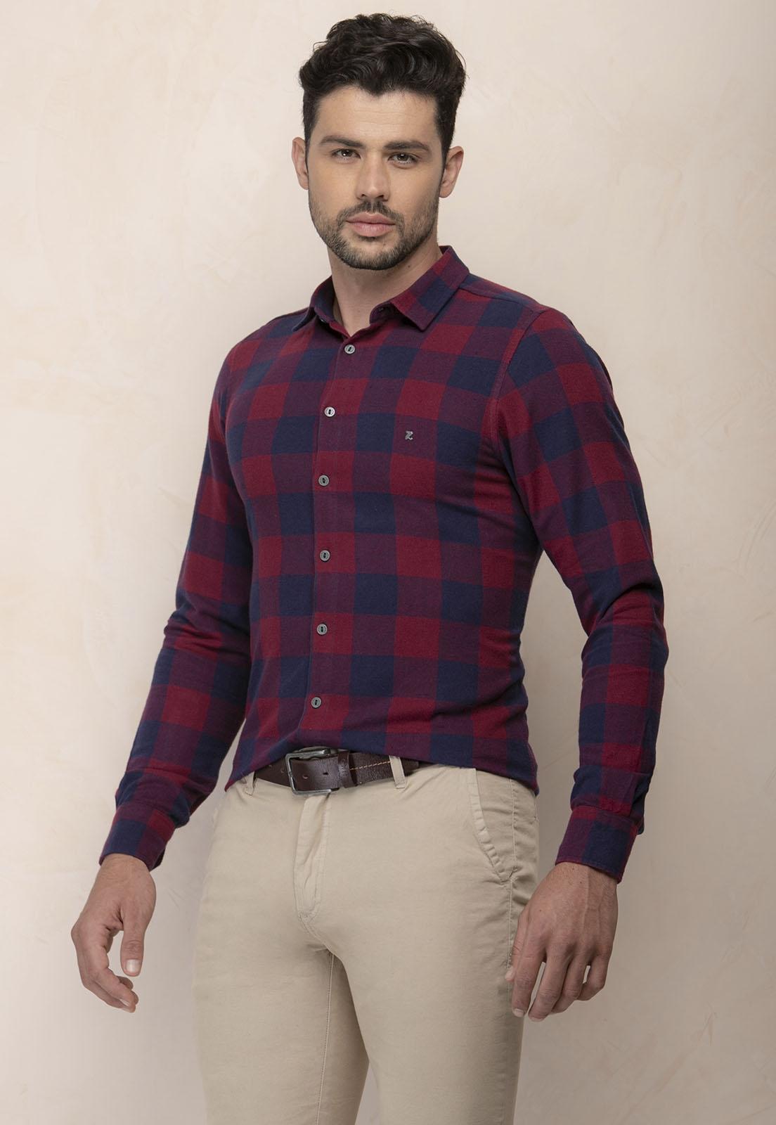 Camisa Social Slim Zaiko Flanela Xadrez Manga Longa 2461