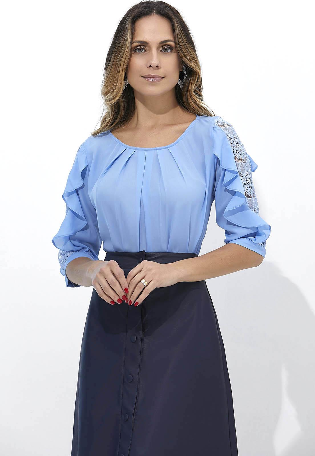 Blusa Feminina Babado 3/4 2176
