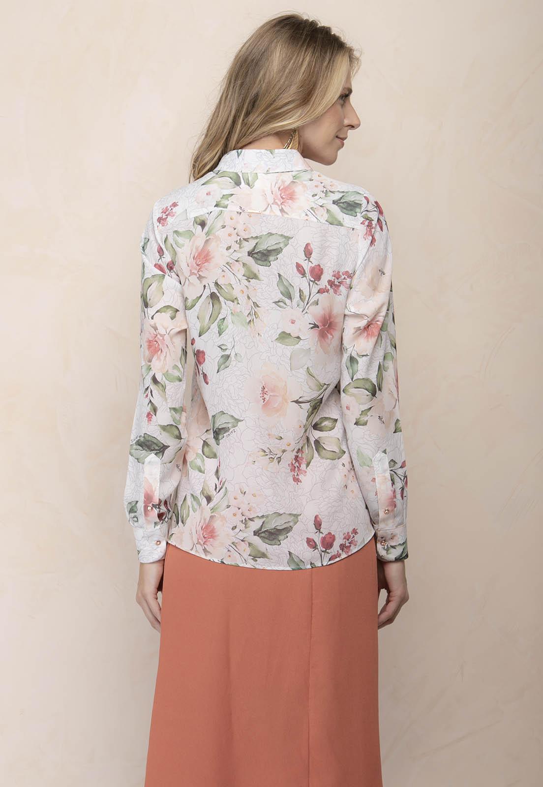 Camisa Feminina Zaiko Estampada Floral Manga Longa 2507