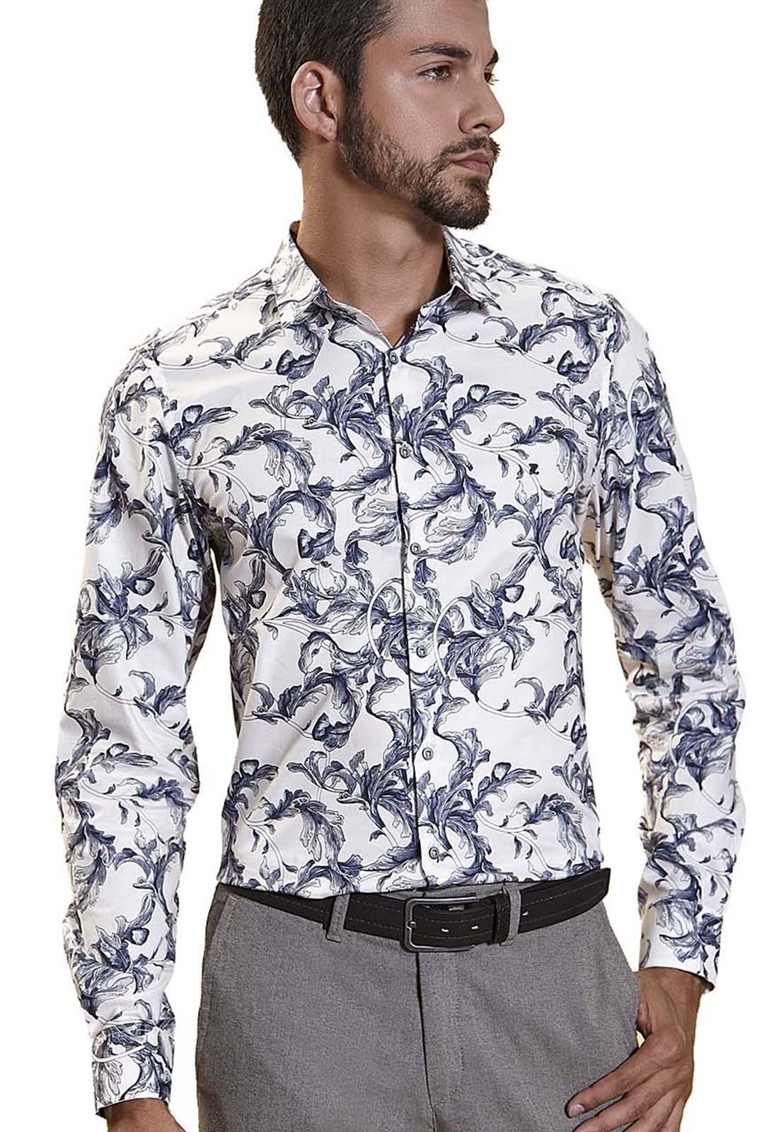 Camisa Fit Zaiko Estampada Floral Manga Longa 2244 Branco