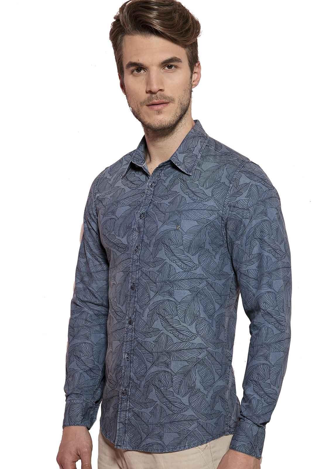Camisa Fit Zaiko Jeans Estampada Manga Longa Azul 1785