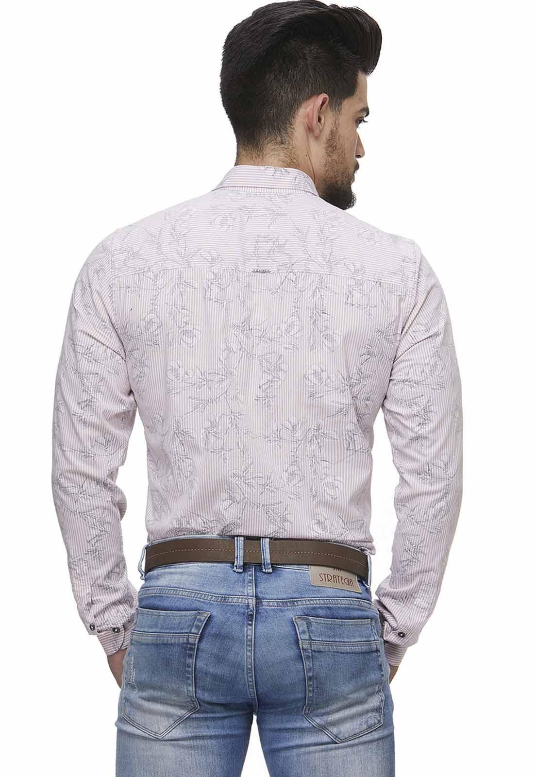 Camisa Fit Zaiko Masculina Estampada Manga Longa 1686rosa