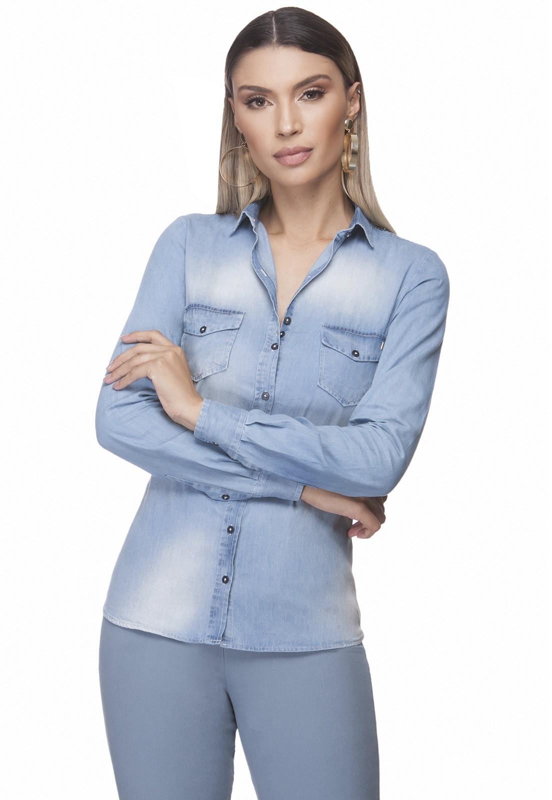 Camisa Jeans Zaiko Bolso Manga Longa 2403