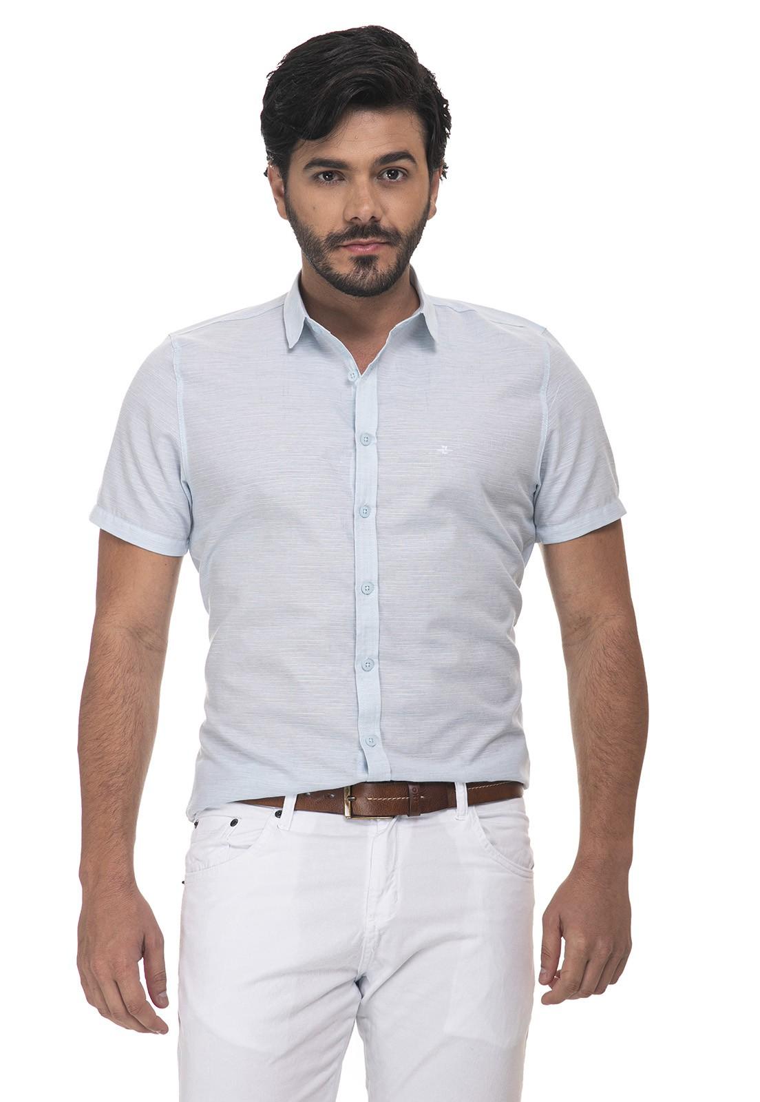 Camisa Slim Slub Linho Manga Curta 7069