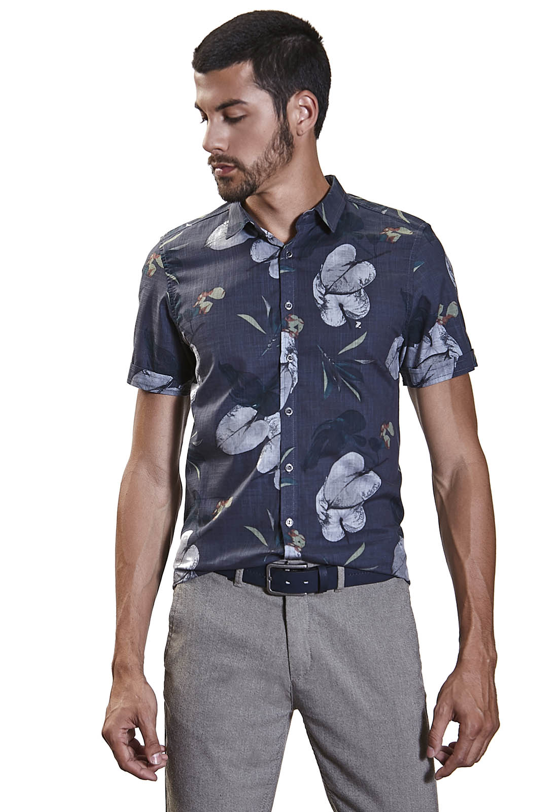 Camisa Slim Zaiko Estampada Floral Manga Curta 2259 Marinho
