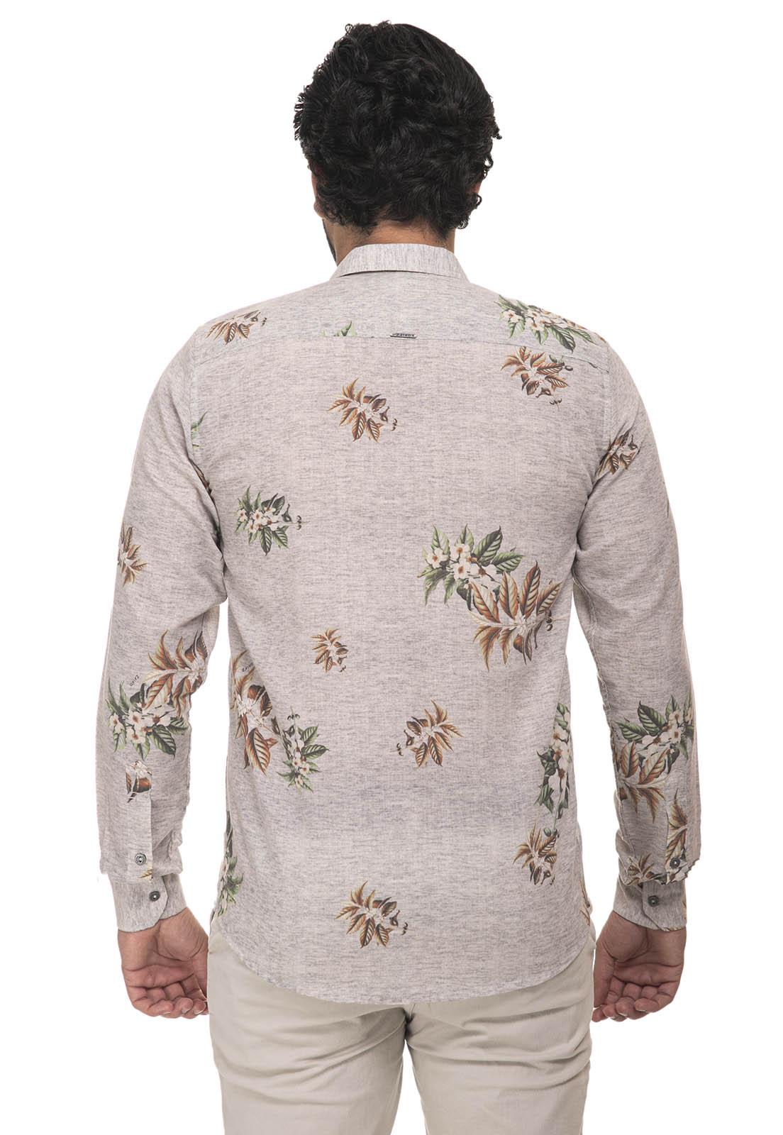 Camisa Slim Zaiko Estampada Floral Manga Longa 2258