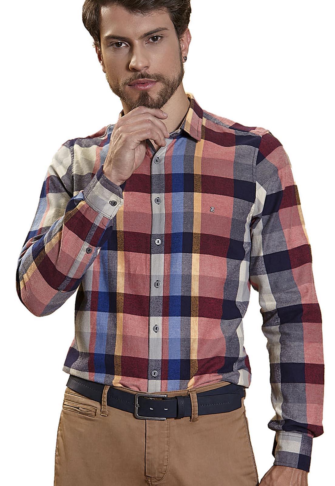 Camisa Slim Zaiko Flanela Xadrez Manga Longa 2229 Vermelho