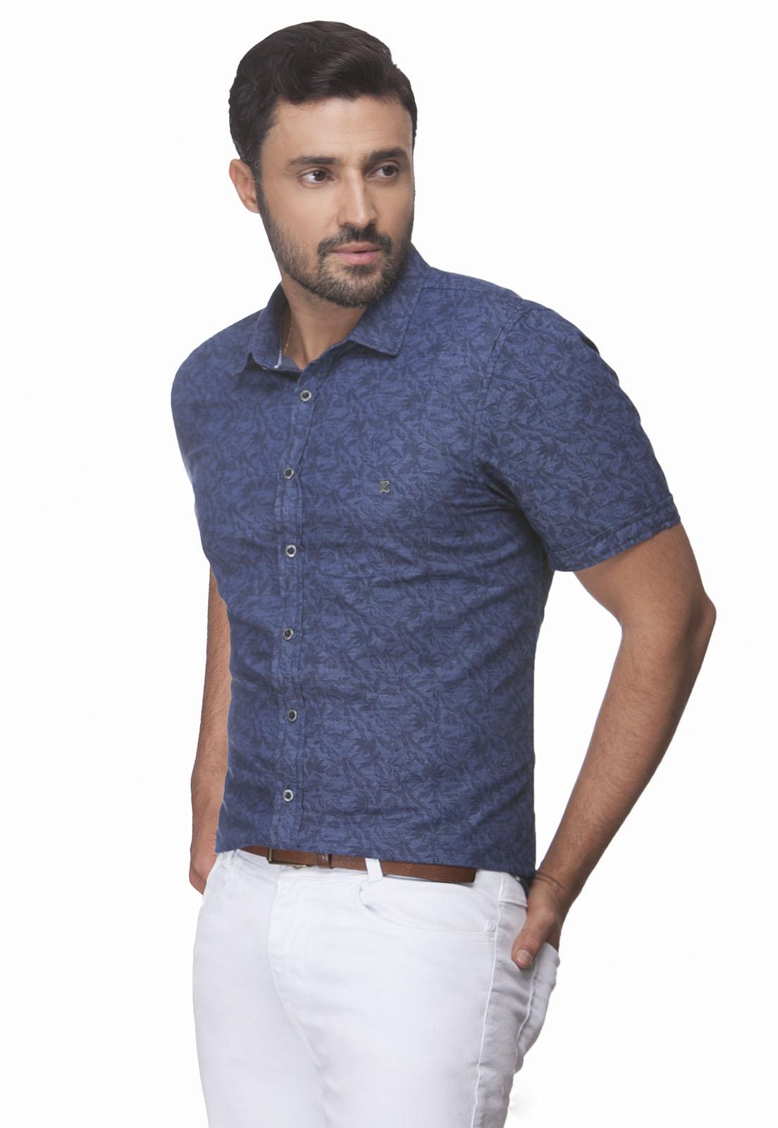 Camisa Slim Zaiko Jeans Estampada Manga Curta 2366