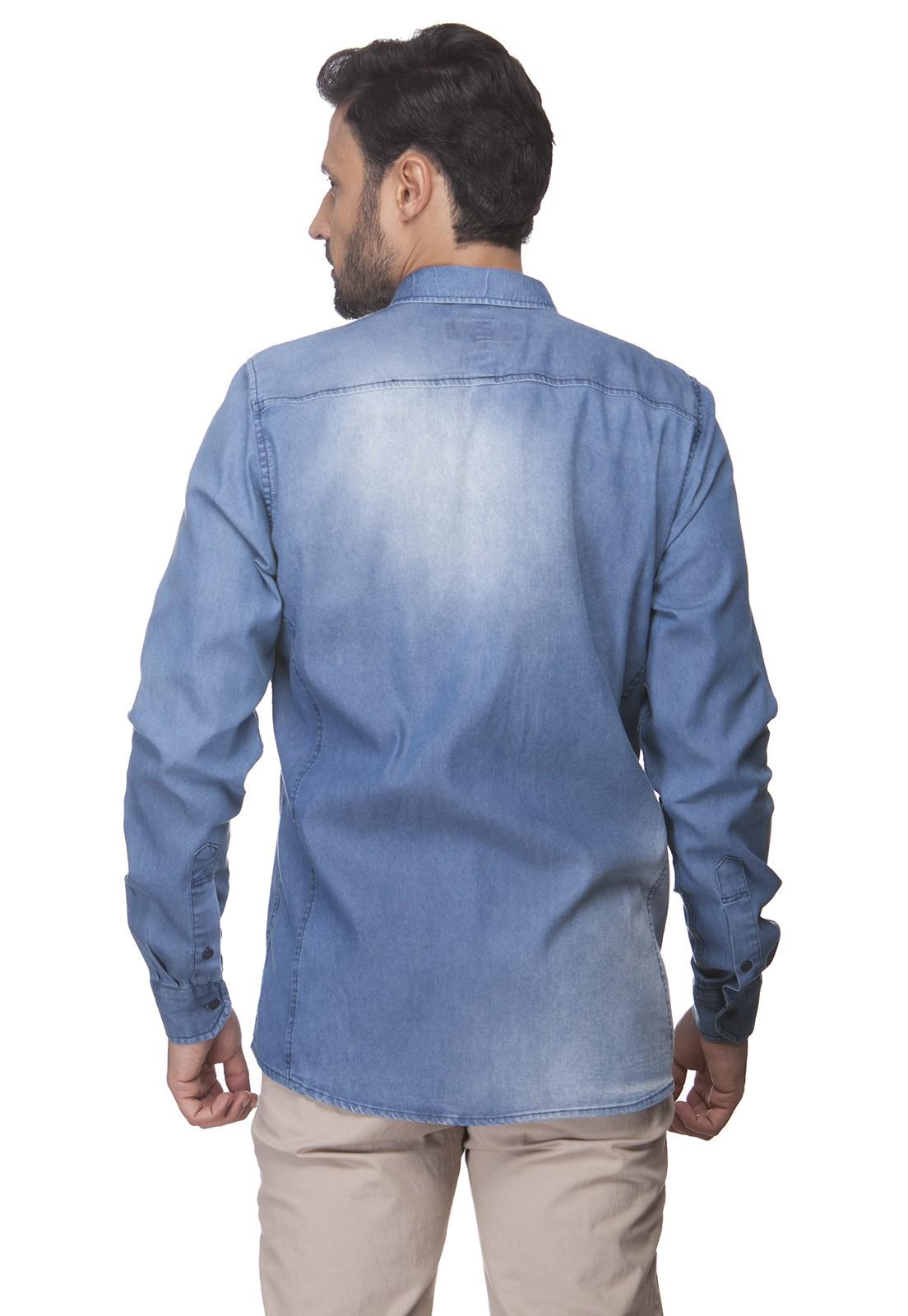 Camisa Slim Zaiko Jeans Manga Longa 2358