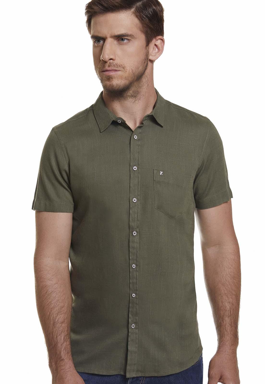Camisa Slim Zaiko Masculino Linho Manga Curta 2032 Verde