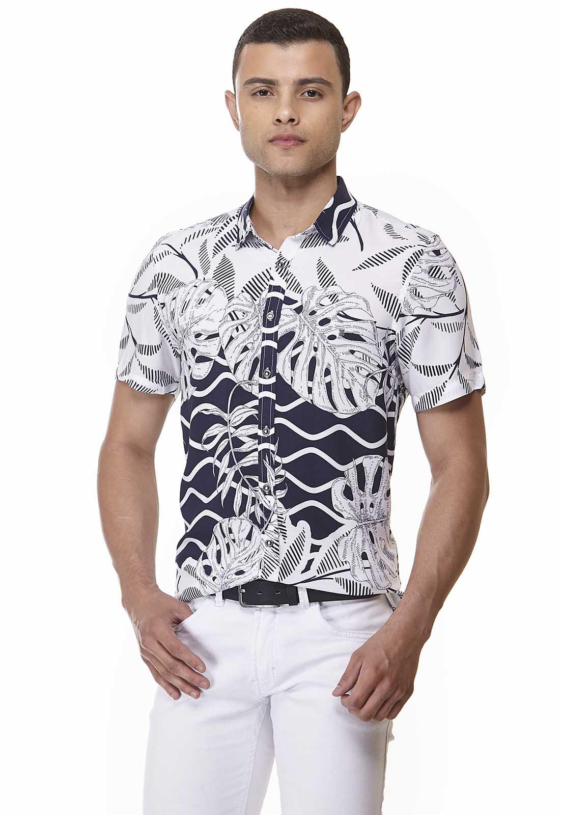 Camisa Slim Zaiko Viscose Estampada Manga Curta 2038