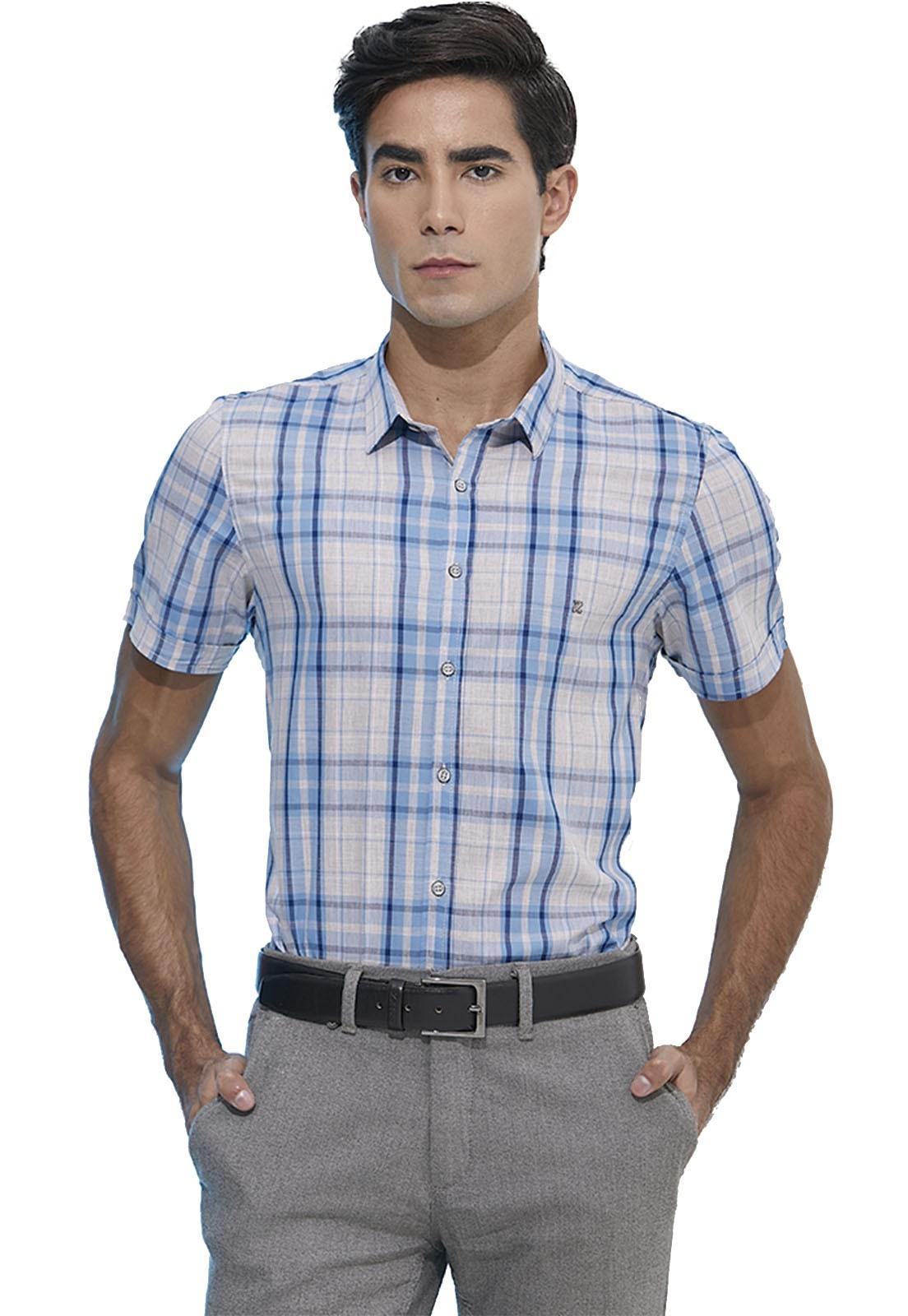 Camisa Slim Zaiko Xadrez Manga Curta 2108
