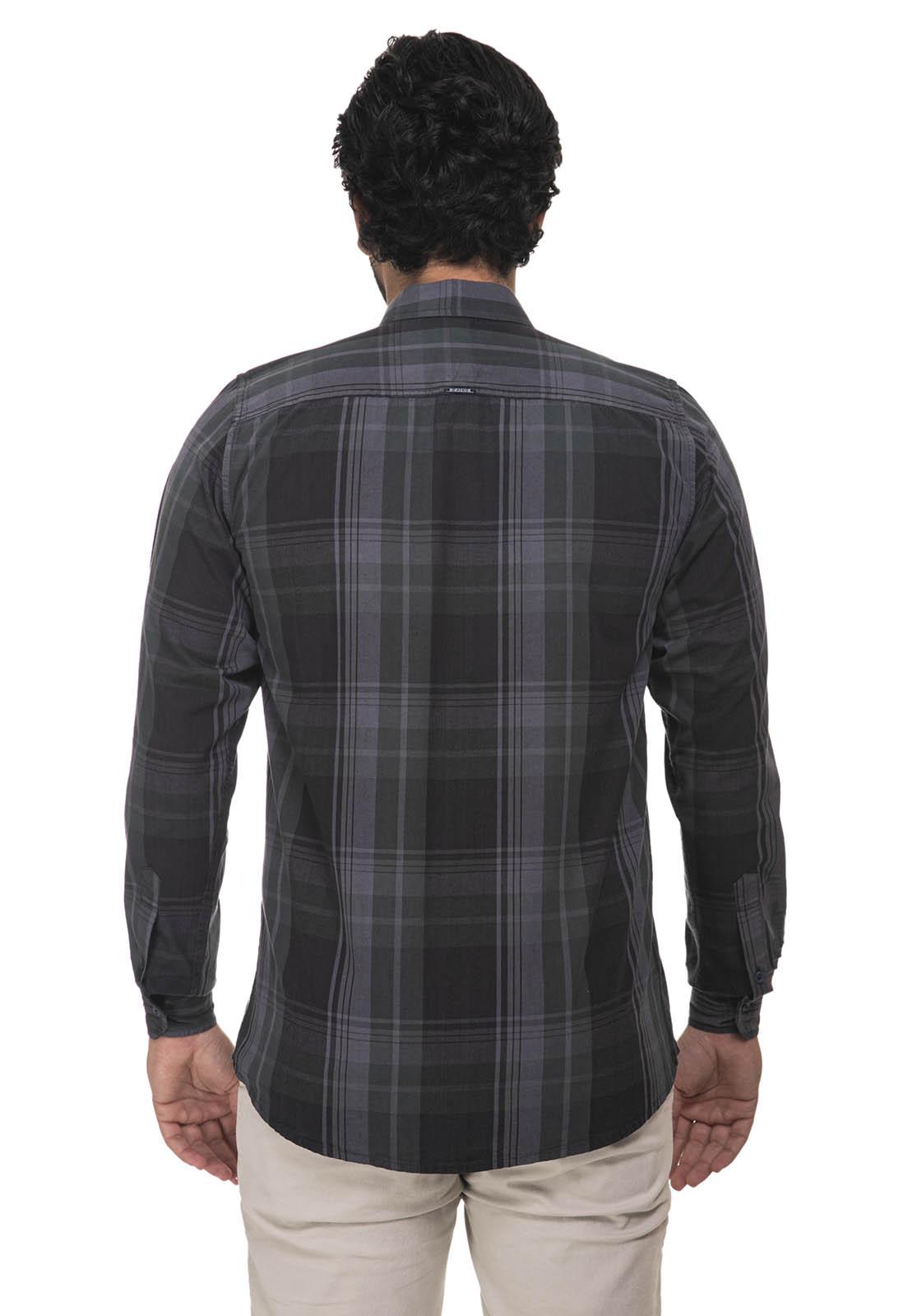 Camisa Slim Zaiko Xadrez Manga Longa 2224